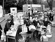 After a state of emergency was declared in Poland in December 1981, aid was channelled through non-governmental organisations, mainly in the form of foodstuffs and medical supplies for the poorest sections of the population. Here, Red Cross food packages are prepared for transportation.<br />
