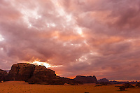 Sunset on the Arabian Desert at Wadi Rum, Jordan.