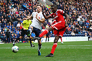 Sammy Ameobi of Cardiff City shoots at goal but sees his shot saved. Skybet football league championship match, Preston North End v Cardiff City at the Deepdale stadium in Preston, Lancashire on Saturday 17th October 2105.<br /> pic by Chris Stading, Andrew Orchard sports photography.