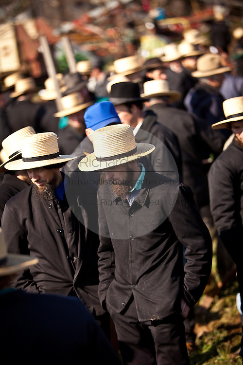 Amish men bid on farm equipment during the Annual Mud Sale to support the Fire Department  in Gordonville, PA.