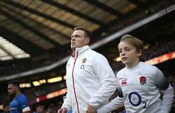 England's Sam Simmonds before the Autumn International at Twickenham Stadium, London.