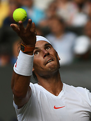 July 9, 2018 - London, England, U.S. - LONDON, ENG - JULY 09: Rafael Nadal (ESP) in action during his fourth round match on July 9, 2018 at the Wimbledon Championships, played at the All England Lawn Tennis and Croquet Club in London, England. (Photo by Cynthia Lum/Icon Sportswire) (Credit Image: © Cynthia Lum/Icon SMI via ZUMA Press)