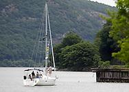 Cornwall-on-Hudson, New York - A cruising yacht on the Hudson River heads for the Cornwall Yacht Club on June 4, 2011.