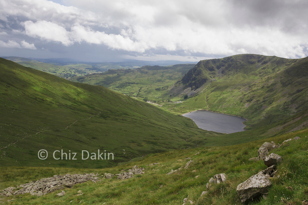 Looking down to Kentmere Reservoir from just above Nan Bield pass