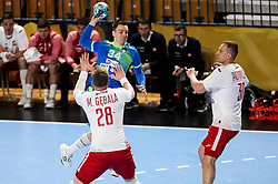 Rok Ovnicek of Slovenia during handball match between National Teams of Slovenia and Poland in Qualification Phase 2 of Men's EHF Euro 2022 Qualifiers, on March 9, 2021 in Arena Zlatorog, Celje, Slovenia. Photo by Vid Ponikvar / Sportida