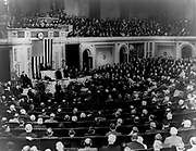 President Herbert Hoover (1874-1964) addressing a joint session of Congress at the ceremony commemorating the 200th anniversary of George Washington's birth, 22 February 1932.