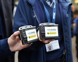 Scotrail unveils new £300,000 GBP personal cctv cameras for their front-line staff to wear. This is in response to increased assaults on staff members across the network, and will see over 350 camera equipped staff across Scotland.<br /> <br /> (c) Dave Johnston / Eem
