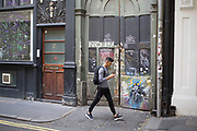 Street art scene in Soho of Joy Division singer Ian Curtis, in London, England, United Kingdom. (photo by Mike Kemp/In Pictures via Getty Images)
