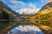 Maroon Bells Reflected in Maroon Lake in Fall