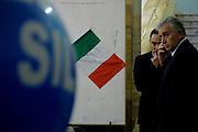 Simon Furlan and Roberto Gasparotti, person in charge of image of Silvio Berlusconi, waiting for him at Teatro Orione.<br /> <br /> 16 novembre   2013 . Daniele Stefanini /  OneShot