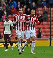 Stoke City/Sunderland Premiership 05.02.11<br />Photo: Tim Parker Fotosports International<br />John Carew Stoke City celebrates his 1st goal for the club