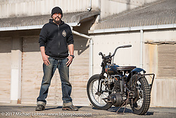 "Koji ""Hammer"" Hamadawith his Hammer Sycle /Hardly-Driveable custom 1941 Harley-Davidson Knucklehead near his shop inTsuchiura City, Ibaraki Prefecture, Japan. Thursday December 7, 2017. Photography ©2017 Michael Lichter."