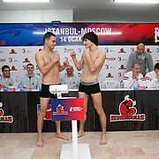 Istanbulls Bunyamin AYDIN (L) and Kremlin Bears boxers Adlan ABDURASHIDOV (R) seen during their Presentation and the weighing ceremony matchday 4 of the World Series of Boxing at Ahmet Comert Arena in Istanbul, Turkey, Thursday, January 13, 2011. Photo by TURKPIX