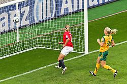 06-07-2011 VOETBAL: FIFA WOMENS WORLDCUP 2011 AUSTRALIA - NORWAY: LEVERKUSEN<br /> Tor zum 0:1 durch Elise Thorsnes (Norgwegen)  gegen Kim Carroll (Australien) <br /> ***NETHERLANDS ONLY***<br /> ©2011-FRH- NPH/Mueller