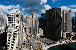 The Wrigley building, (left) and the Tribune building (centre), Chicago