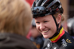 Jolien D'hoore chats with fans at the 127 km Omloop van het Hageland on February 26th 2017, starting and finishing in Tielt Winge, Belgium. (Photo by Sean Robinson/Velofocus)