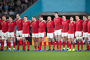 Wales team reacts to New Zealand´s haka before the Rugby World Cup bronze final match between New Zealand and Wales Friday, Nov, 1, 2019, in Tokyo. New Zealand defeated Wales 40-17.  (Flor Tan Jun/Espa-Images-Image of Sport)
