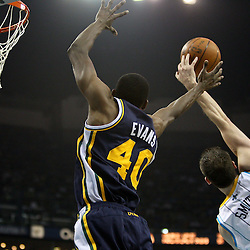 April 11, 2011; New Orleans, LA, USA; A pass intended for Utah Jazz small forward Jeremy Evans (40) is blocked by New Orleans Hornets power forward Jason Smith (14) during the first half at the New Orleans Arena.  Mandatory Credit: Derick E. Hingle
