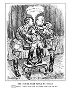"""The Dummy That Spoke by Itself. Adolf/Benito } (together). """"Where did that one come from - you or me?"""" (the dummy, General Franco of Spain, says """"Withdraw All Volunteers!"""" as neither Hitler or Mussolini knows which of them is really controlling the puppet)"""