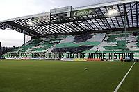 Supporters Stephanois - Saint Etienne /Hapoel TelAviv- UEFA - 02.10.2008 - Foot Football - ASSE - largeur attitude supporter ambiance tribune banderolle banderole banderolles banderoles<br /> Norway only