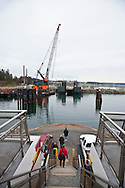 Preparing to land at the Keystone Ferry Terminal on Whidbey Island. Washington State Ferry, Steilacoom II, borrowed from Pierce County by the Washington State Department of Transportation to run on the Port Townsend - Keystone route until a new ferry is assigned to the route. Admiralty Inlet, Puget Sound, Washington, USA.