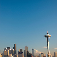 SEATTLE, WASHINGTON. Downtown Seattle & Space Needle in front of Mount Rainier on a rare clear winter day.
