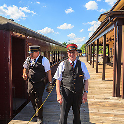 New Hope, PA, USA - June 23, 2012: The New Hope and Ivyland Rail Road train conductors.