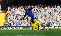 Florent Malouda is fouled by Man Utd's Edwin Van Der Sar<br /> Chelsea 2008/09<br /> Chelsea V Manchester United 21/09/08<br /> The Premier League<br /> Photo Robin Parker Fotosports International