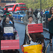 #AudioRiot to stop the cut to Universal Credit of Disabled People Against Cuts (DPAC) blockade King Cross, London, UK. on 28th September 2021.