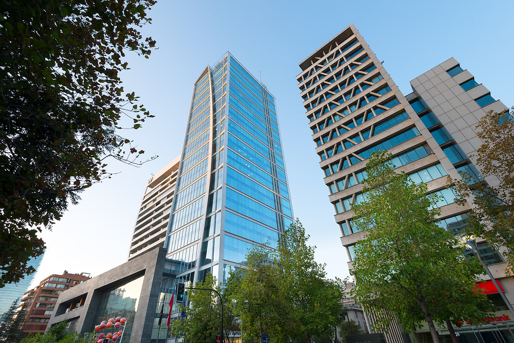 Santiago, Region Metropolitana, Chile - Buildings at Isidora Goyenechea street, one of the wealthiest and expensive neighborhood in the country.