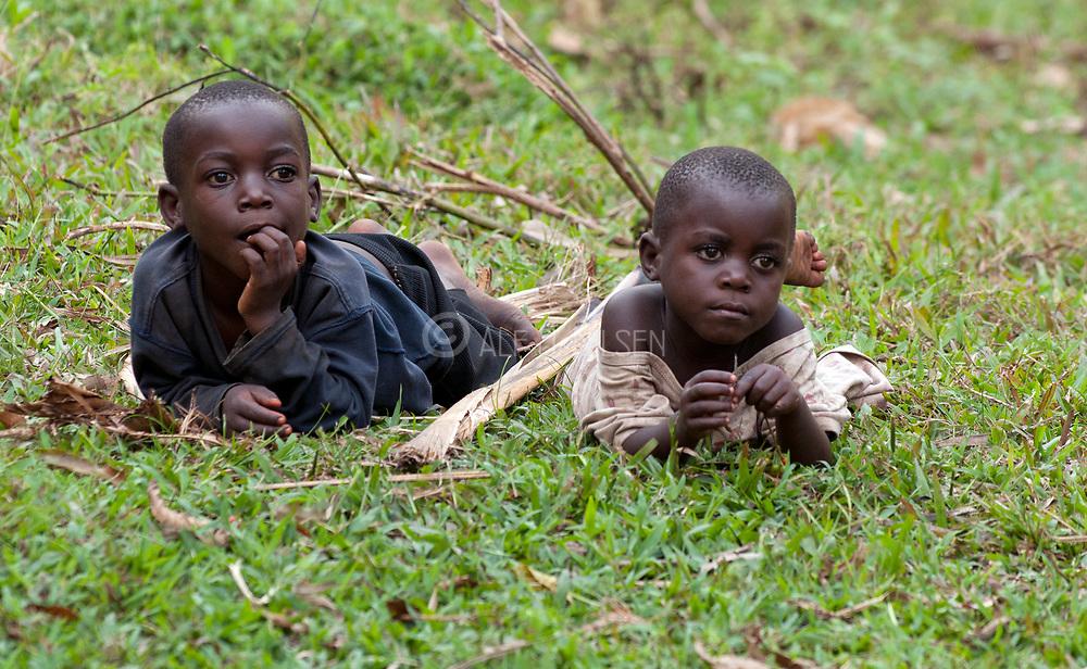 Pygmy tribe village boys of Bwindi, Uganda.