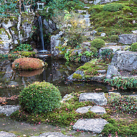 Jakko-in temple is a nunnery located in Ohara Kyoto. Within its small compound is a beautiful pond garden.  The Migiwa pond and garden was described and mentioned in the Japanese classic ìThe Tale of Heikeî and is famous for its unique composition.