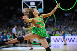 Cheerleaders perform during friendly match between National Teams of Slovenia and Lithuania before World Championship Spain 2014 on August 18, 2014 in Kaunas, Lithuania. Photo by Robertas Dackus / Sportida.com