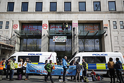 © Licensed to London News Pictures. 15/04/2019. London, UK. Extinction Rebellion protestors have attacked Shell Headquarters as protests take hold throughout London and other UK cities to highlight global climate change. Photo credit: Peter Macdiarmid/LNP
