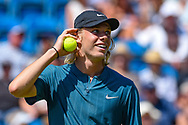 Denis Shapovalov of Canada smiles during the Nature Valley International at Devonshire Park, Eastbourne, United Kingdom on 27 June 2018. Picture by Martin Cole.
