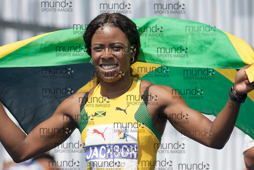 Toronto, ON -- 12 August 2018: Shericka Jackson (Jamaica), gold in the 200m at the 2018 North America, Central America, and Caribbean Athletics Association (NACAC) Track and Field Championships held at Varsity Stadium, Toronto, Canada. (Photo by Sean Burges / Mundo Sport Images).