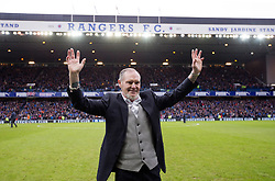 Former Rangers player Paul Gascoigne is paraded to the fans at half time during the Ladbrokes Scottish Premiership match at Ibrox, Glasgow.