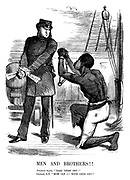 "Men and Brothers!! Fugitive slave. ""Take these off!"" Captain, R N. ""How can I?—With this on?"""