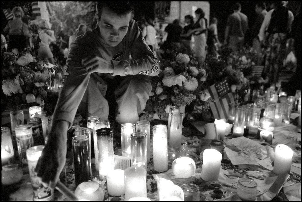 In the days following the terrorist attack on The World Trade Center impromptu vigils took place around New York City.