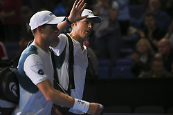 November 13, 2017 - London, United Kingdom - Bob and Mike Bryan of the United States leave the pitch after victory in the Doubles match against Jamie Murray of Great Britain and Bruno Soares of Brazil during day two of the Nitto ATP World Tour Finals at O2 Arena, London on November 13, 2017. (Credit Image: © Alberto Pezzali/NurPhoto via ZUMA Press)