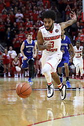 20 January 2017:  Keyshawn Evans(3) during an NCAA Missouri Valley Conference mens basketball game Where the Purple Aces of Evansville lost to the Illinois State Redbirds 75-73 in Redbird Arena, Normal IL
