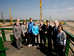 PM visit, start of construction on the stadium site. Gordon Brown, Seb Coe, Boris Johnson, Tessa Jowell, Denis Oswold and John Armitt with athletes Chris Tomlinson and Goldie Sayer on a tour of the stadium site. Picture by David Poultney.