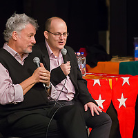 US actor John de Lancie (L) talks on stage during a meeting with his fans in Budapest, Hungary on January 11, 2015. ATTILA VOLGYI