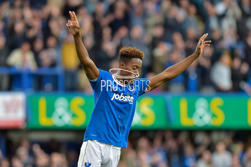 Portsmouth Forward, Jamal Lowe (18) celebrates after Portsmouth Forward, Brett Pitman (8) scores to make it 4-1 during the EFL Sky Bet League 1 match between Portsmouth and Fleetwood Town at Fratton Park, Portsmouth, England on 16 September 2017. Photo by Adam Rivers.