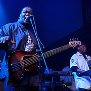 "WASHINGTON, DC - May 5th, 2014 - Big Tony of Trouble Funk (left) performs at the 9:30 Club in Washington D.C. as part of his birthday celebration. The night featured a set from ""surprise guests"" Dave Grohl and Foo Fighters. (Photo by Kyle Gustafson / For The Washington Post)"