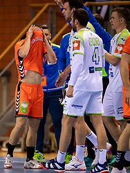 11-04-2019 NED: Netherlands - Slovenia, Almere<br /> Third match 2020 men European Championship Qualifiers in Topsportcentrum in Almere. Slovenia win 26-27 / Luc Steins #12 of Netherlands
