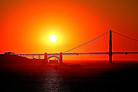 The Golden Gate Bridge is a suspension bridge spanning the  one-mile-wide strait connecting San Francisco Bay and the Pacific photo by David Court