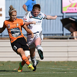 BRISBANE, AUSTRALIA - JANUARY 1: Katrina Gorry of the Roar shoots on goal during the round 10 Westfield W-League match between the Brisbane Roar and Melbourne Victory at AJ Kelly Park on January 1, 2017 in Brisbane, Australia. (Photo by Patrick Kearney/Brisbane Roar)