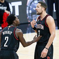 03 May 2017: Houston Rockets guard Patrick Beverley (2) talks to Houston Rockets forward Ryan Anderson (3) during the San Antonio Spurs 121-96 victory over the Houston Rockets, in game 2 of the Western Conference Semi Finals, at the AT&T Center, San Antonio, Texas, USA.