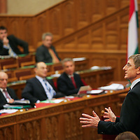 Prime minister Ferenc Gyurcsany delivers his speach in the Parliament.